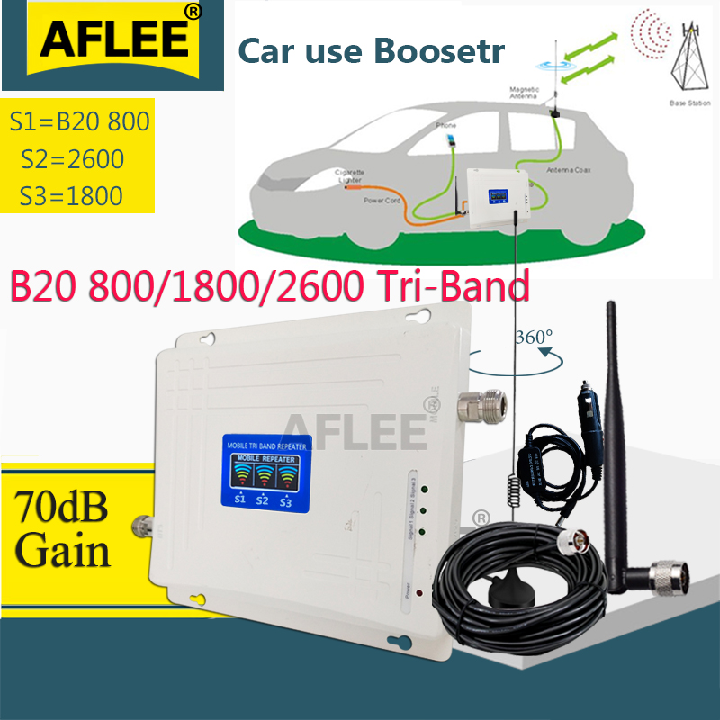 Car Use!! B20 800 1800 2600 Mhz Tri-Band Cell Phone Booster Mobile Signal Amplifier 2G 4G Cellular Repeater LTE DCS 4G Booster