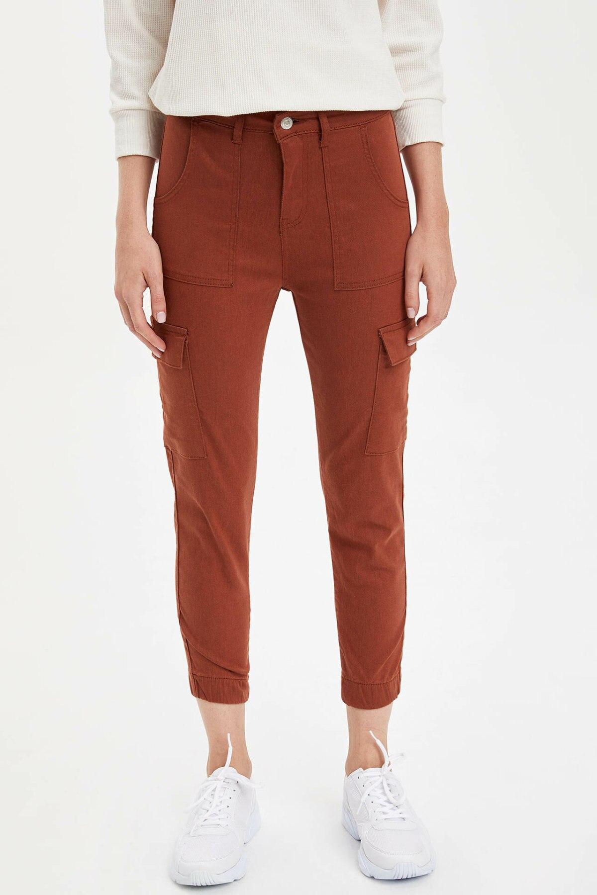 DeFacto Woman Cargo Crop Pants Fashion Solid Pockets Slim Trousers Womens Casual Mid Waist Leisure Pants Female- M0827AZ19AU