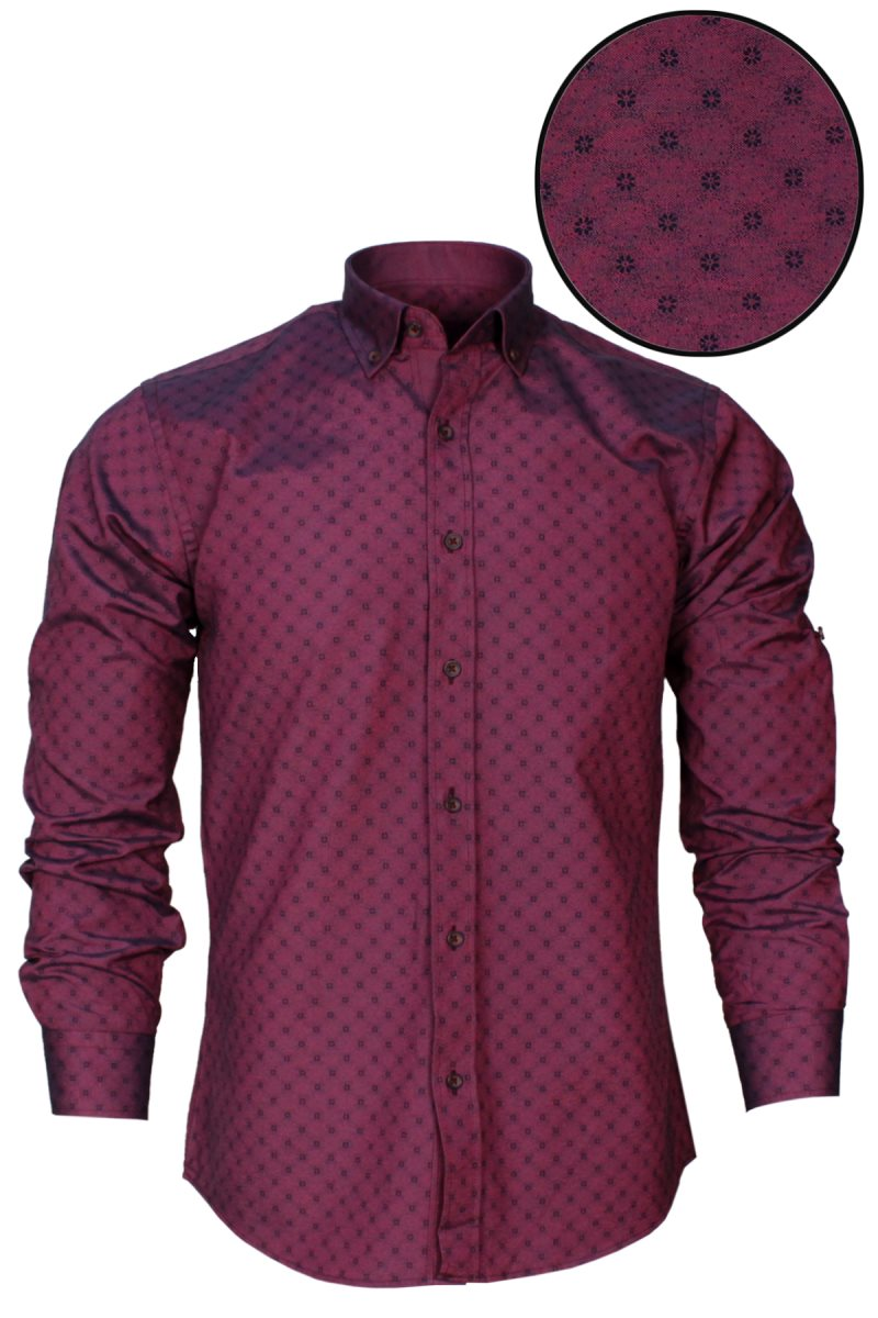 Varetta Men Fashion Casual Long Sleeved Printed Shirt Slim Fit Male Social Business Dress Shirt Brand Men Clothing Soft Comfortable Stitching Fashion Plaid Polka Dot Men Shirt Casual Shirts For Men Camisas Masculina