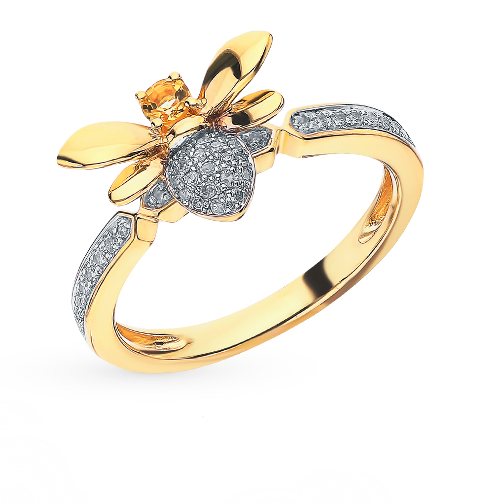 Gold Ring With Citrine And Diamonds Sunlight Sample 585