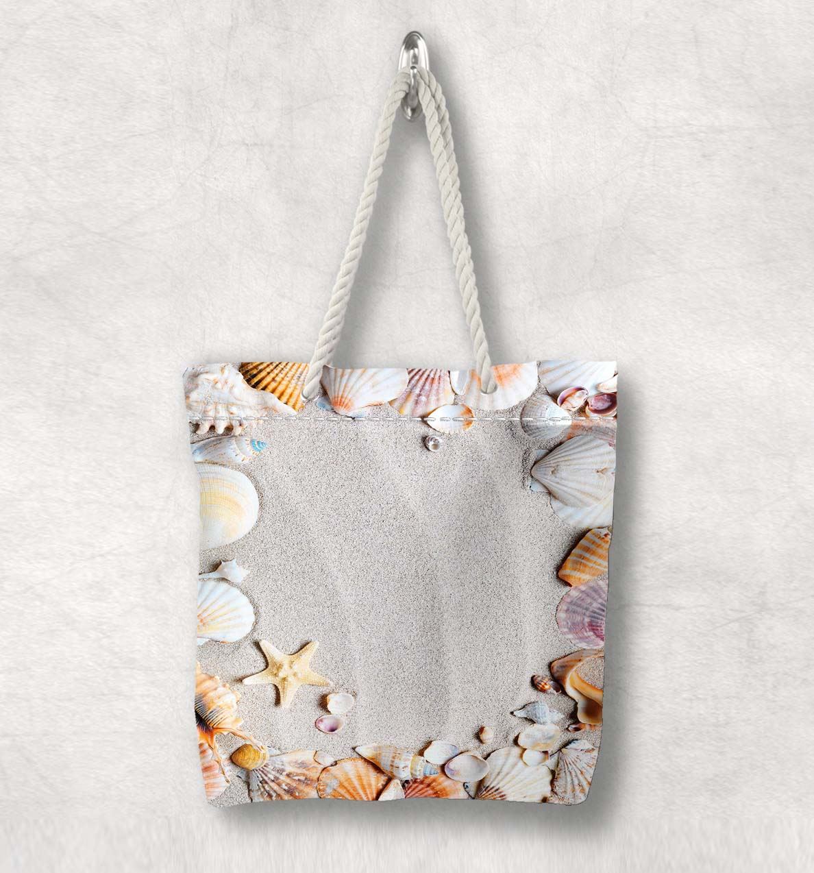 Else Tropical Beach Sand On Sea Shells  New Fashion White Rope Handle Canvas Bag Cotton Canvas Zippered Tote Bag Shoulder Bag