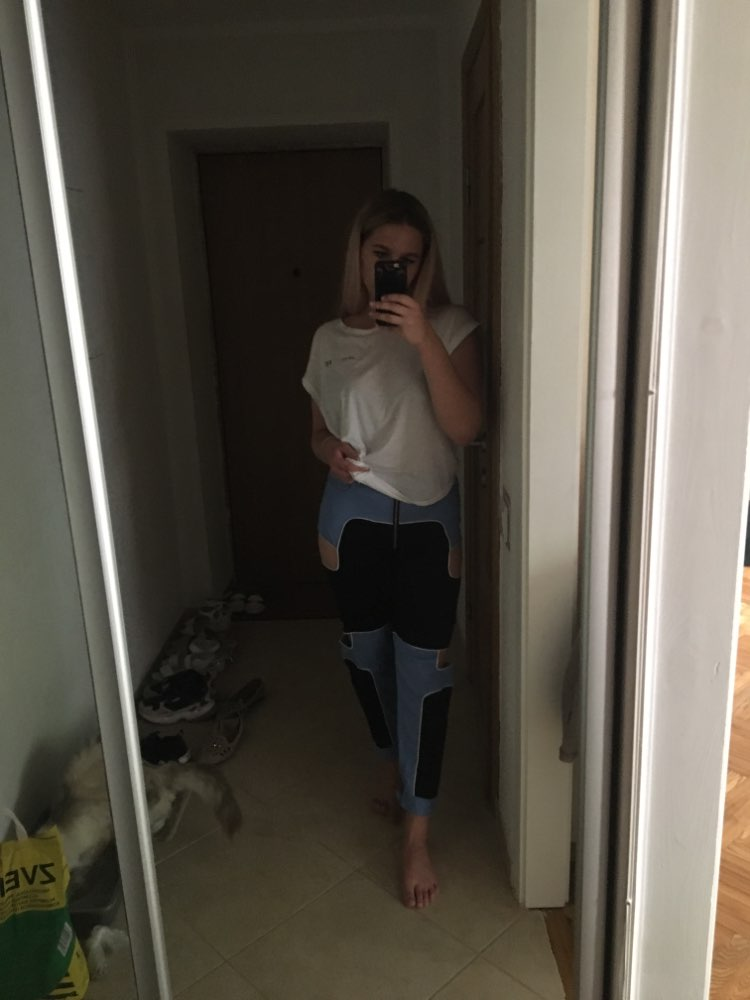 Waatfaak Black Blue Cargo Pants Female Casual Zipper Up Casual Trousers Skinny High Waist Patchwork Pocket Joggers Hollow Out photo review