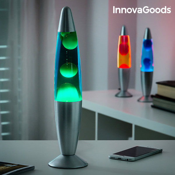 InnovaGoods Lava Lamp 25W Night Lamp Led Light Decoration Party Decoration Night Lamp Green Blue Red