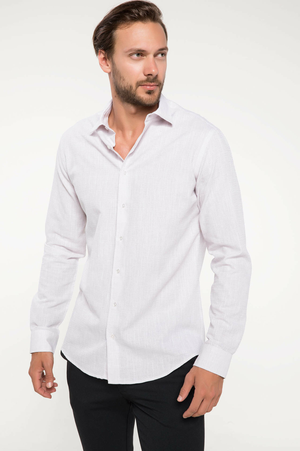 DeFacto Man Summer Smart Casual White Shirts Men Business Top Shirts Male Long Sleeve Shirt-J2864AZ18HS