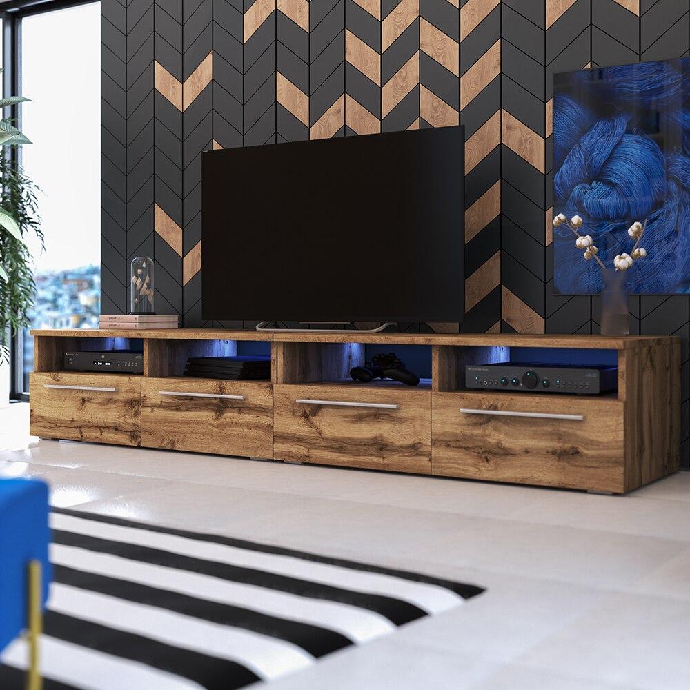 Selsey PHIRIS DOUBLE - Meuble tv / Banc tv (2x100 cm, chêne wotan, éclairage LED)