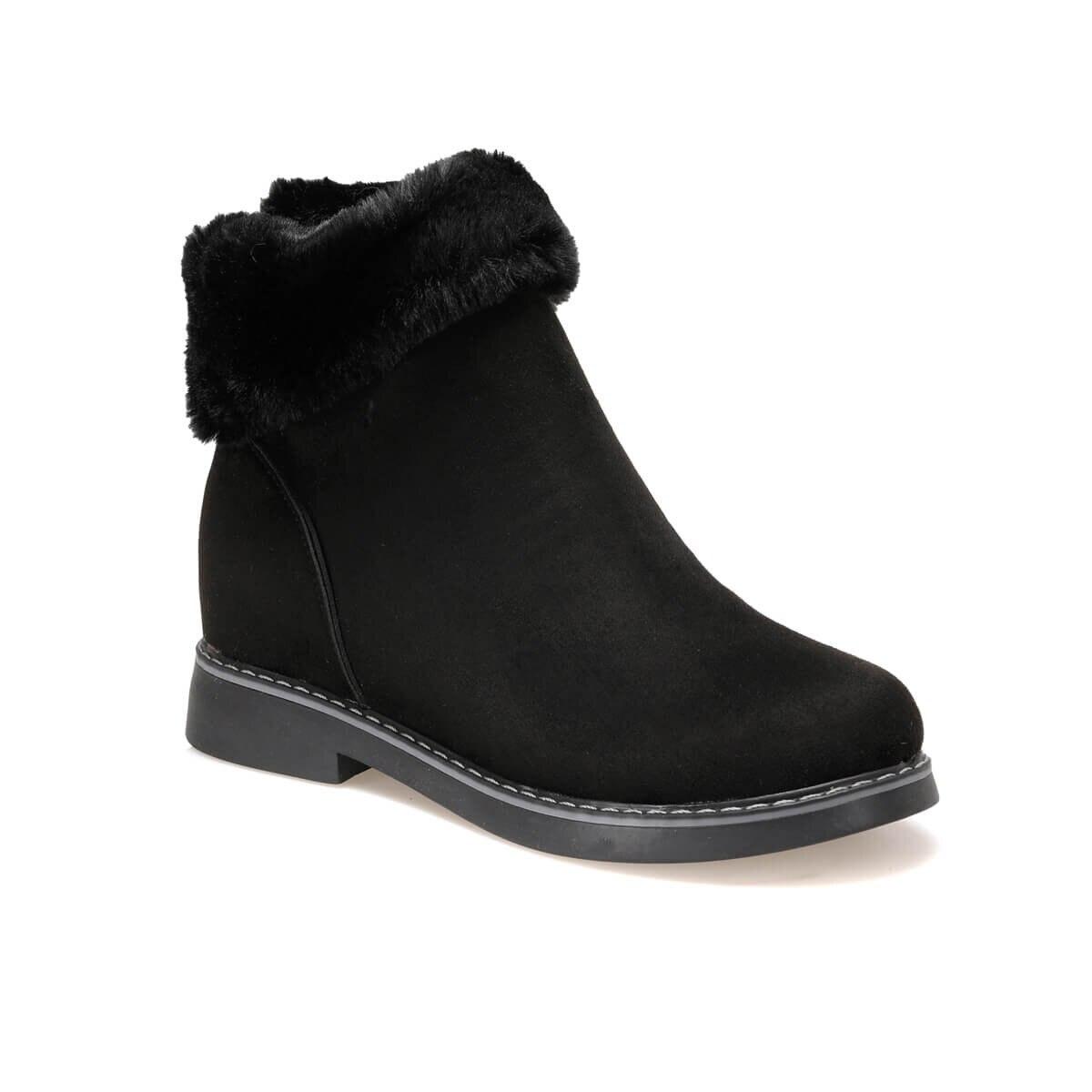 FLO WALİN Black Women Furry Boots BUTIGO