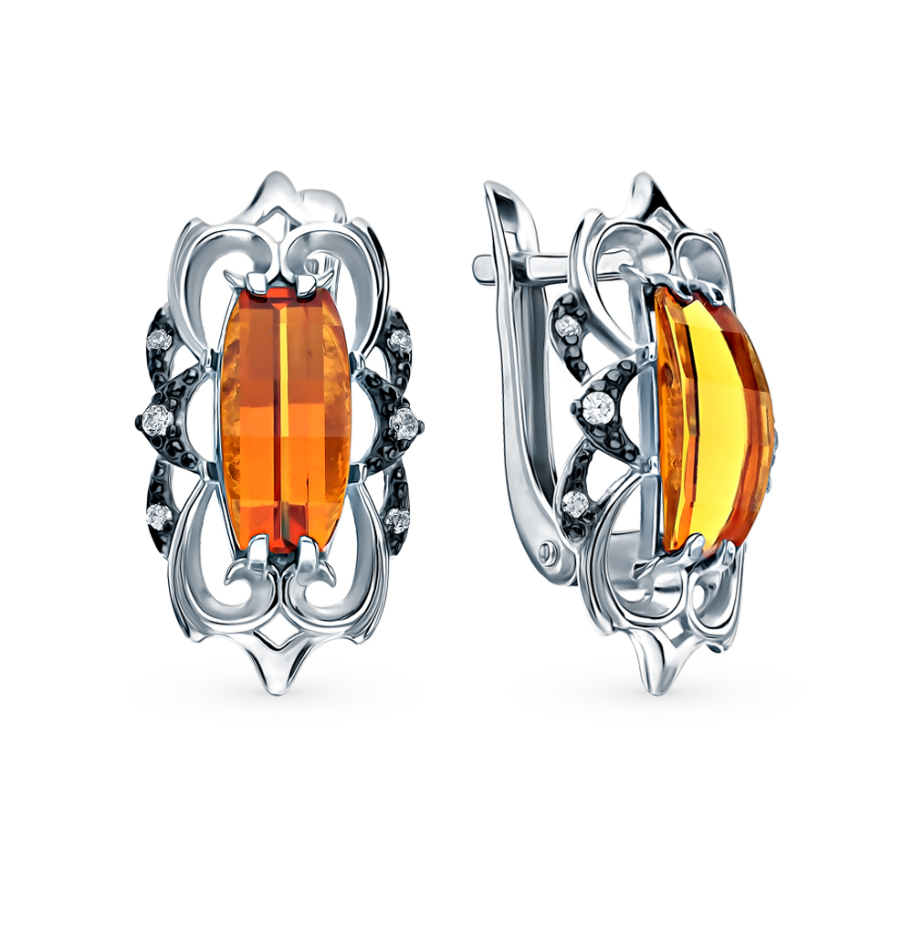 Silver Earrings With Cubic Zirconia And Citrine Sunlight Sample 925