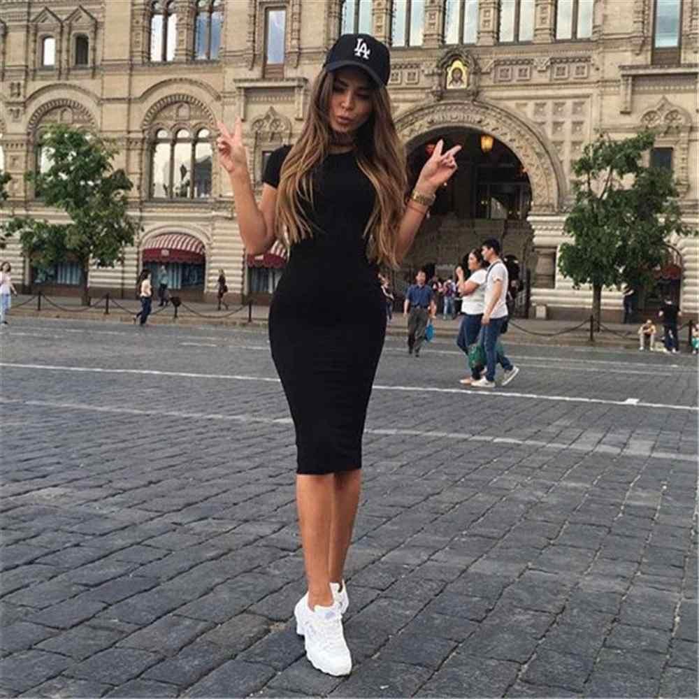 חם סתיו נשים של ארוך שרוול שמלת גדול גודל S-2XL מוצק צבע שמלת עגול צוואר קצר שרוול Loose Slim נוסע מזדמן