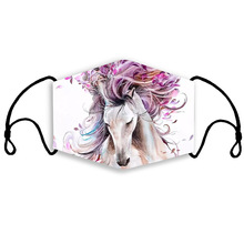 Face-Mask Cloth Fabric Anti-Dust Washable Horse-Printed Outdoor Men Windproof