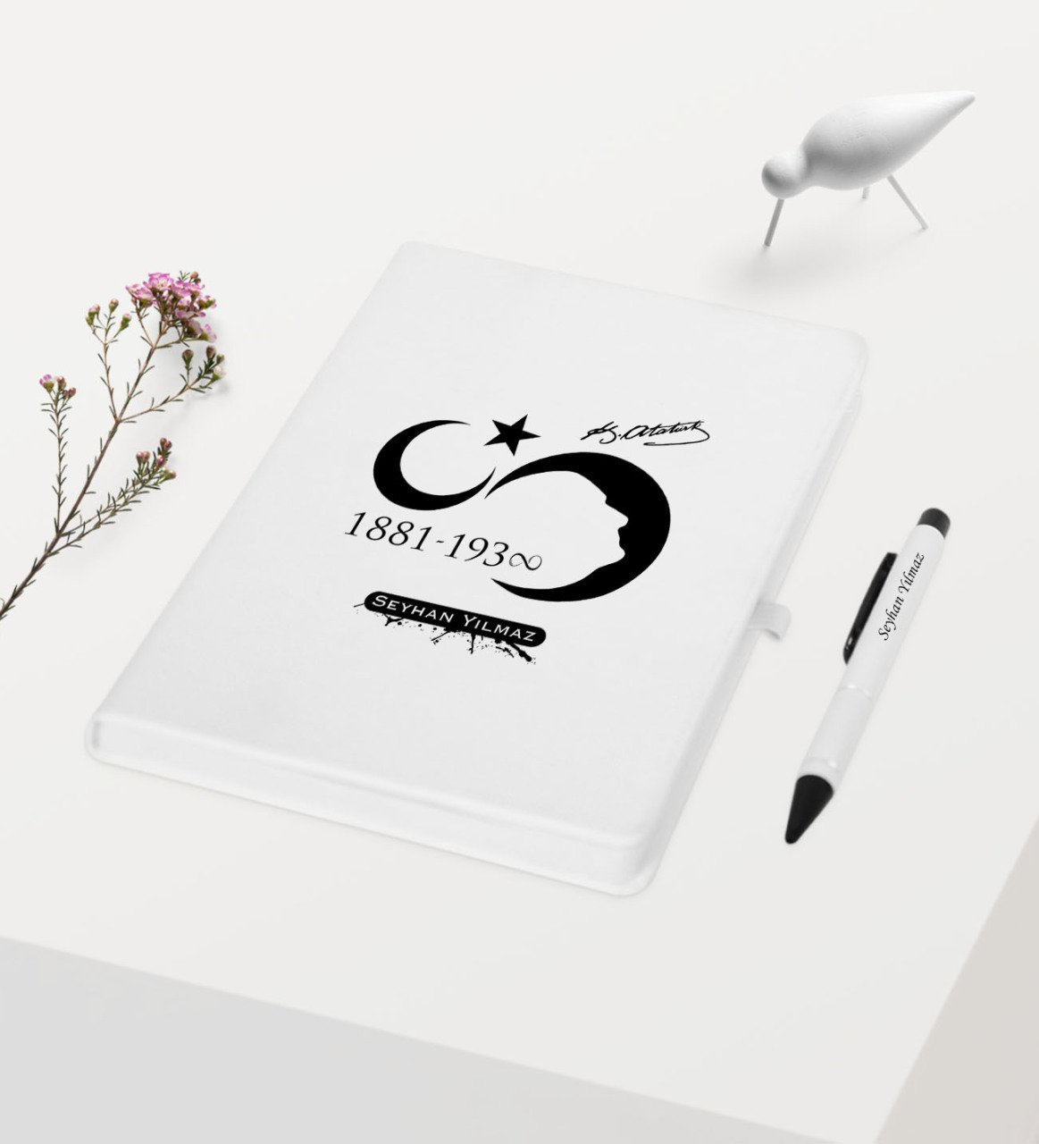 Personalized Ataturk Themed White Notebook Pen Gift Set-5
