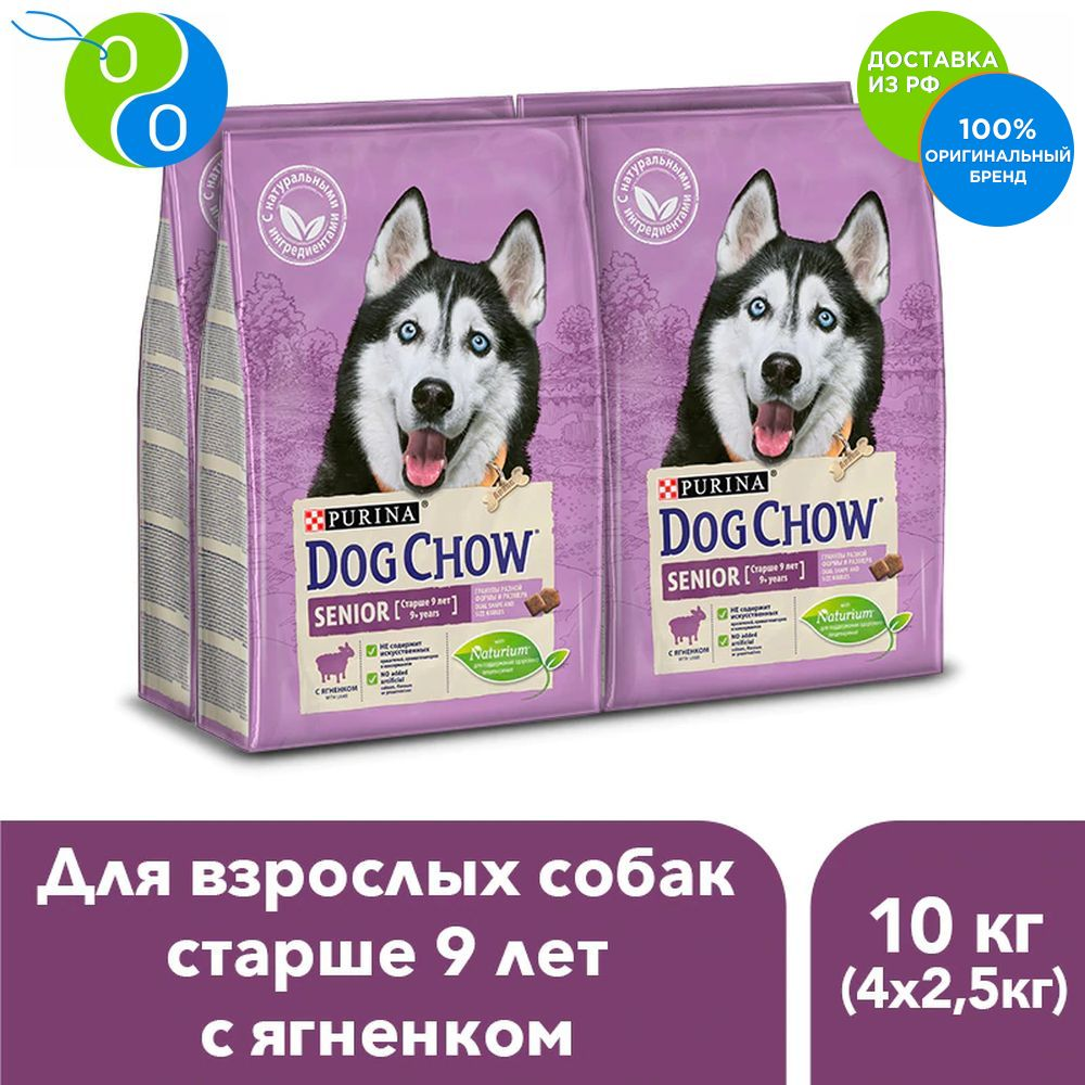A set of dry food Dog Chow for adult dogs older than 9 years with the lamb, package, 2.5 kg x 4 pcs.,Dog Chow, Purina, Pyrina, For active dogs, adult dogs, for cats, for dogs, puppies, turkey, pet food, chicken, salmon cute deer patterned christmas new year socks for pet cat dog white red size l 4 pcs