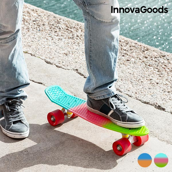 InnovaGoods Mini Cruiser Skateboard (4 Wheels ) Monopatín Para Niños, Skate, Patineta, Ocio, Deporte