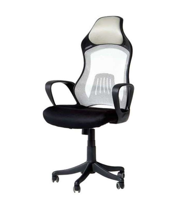 Swivel Chair Gas With Arms Black Gray Grid