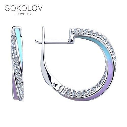 SOKOLOV Drop Earrings With Stones In Silver With Enamel And Cubic Zirconia Fashion Jewelry 925 Women's/men's, Male/female, Long Earrings