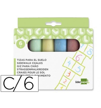 CHALK COLOR LIDERPAPEL FOR SOIL BOX 'S 6 PCS ASSORTED COLORS
