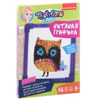 Painting from thread owl, set for creativity bondibon вв1696