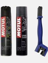 Paquete de cadena Motul con spray limpiador C1 400 ml y grasa Motul C4 speciialmente para carretera Envois 24H