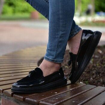 Zapatos Chekich CH002 Japanned cuero ST masculino negro. 100%, 100% algodón zapato zapatillas aire van zapatilla holgazán entrenador uomo dinero pie