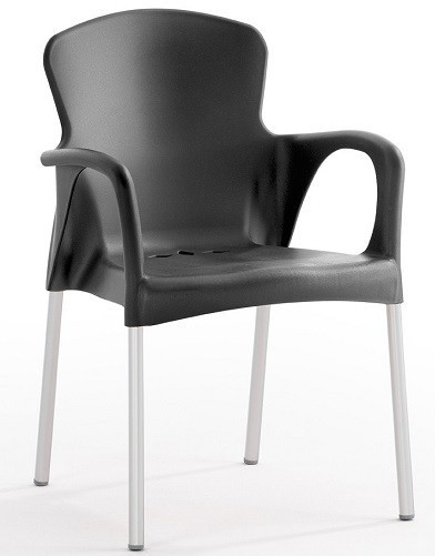 Armchair SENA, Stackable, Black Polypropylene *