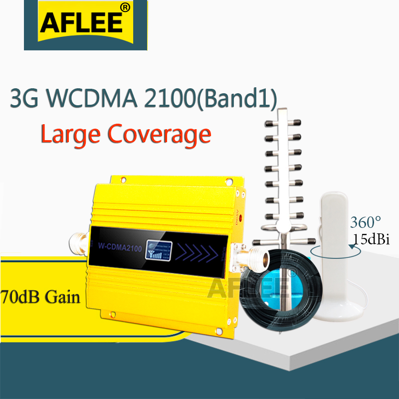AFLEE Set Gain 70dB (LTE Band 1) 2100 UMTS Mobile Signal Booster 3G (HSPA) WCDMA 2100MHz 3G UMTS Cellular Repeater Amplifier