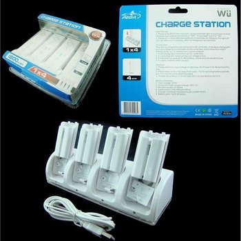Charging Base 4 In 1 + 4 Wii Remote Battery [charging 4 Controls At Once]