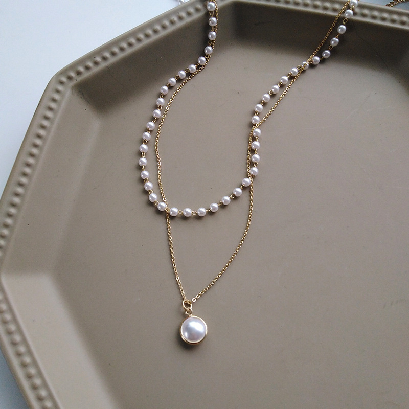 Fashion Chain Pearl Necklace For Women Baroque Pearl Metal Charm Pendants Necklaces Choker Bead Chain Jewelry Gifts 4
