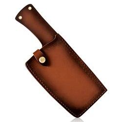캠핑 클리버 나이프 엣지 가드 케이스 가죽 커버 단조 정육점 칼 블레이드에 칼집 요리사 칼 벨트 야외 도구에 묶여