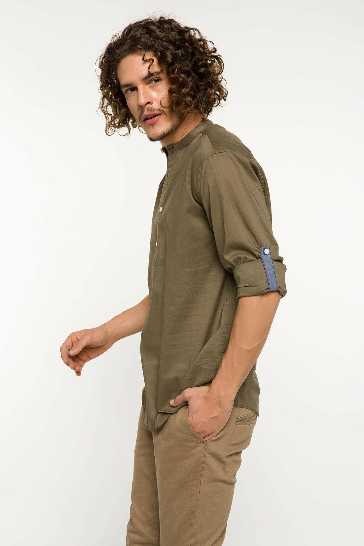 DeFacto Men Fashion Formal White Lapel Collar Shirt Woven Top Short Sleeve Shirt Casual Business Wear Top Shirt-I3040AZ18SM
