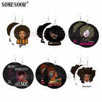 SOMESOOR-pendientes de gota de madera con diseño de Reina Afro para mujer, aretes, plata esterlina, primera ley, estilo africano, chica, arte de melanina, ambos lados