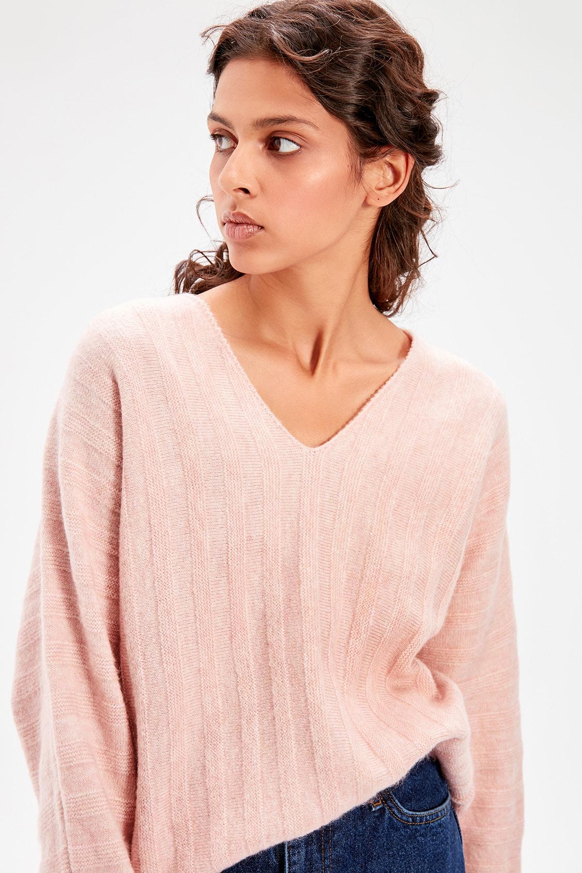 Trendyol Powder V Collar Sweater TWOAW20KZ0183