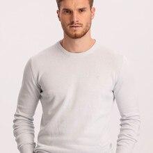Hateko Men Cotton Mix Crewneck Ice Blue Sweater Slim Fit