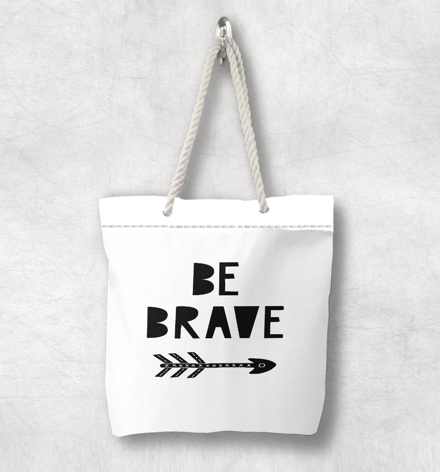 Else Be Brave Bohemian Arrow Nordic Scandinavian White Rope Handle Canvas Bag  Cartoon Print Zippered Tote Bag Shoulder Bag