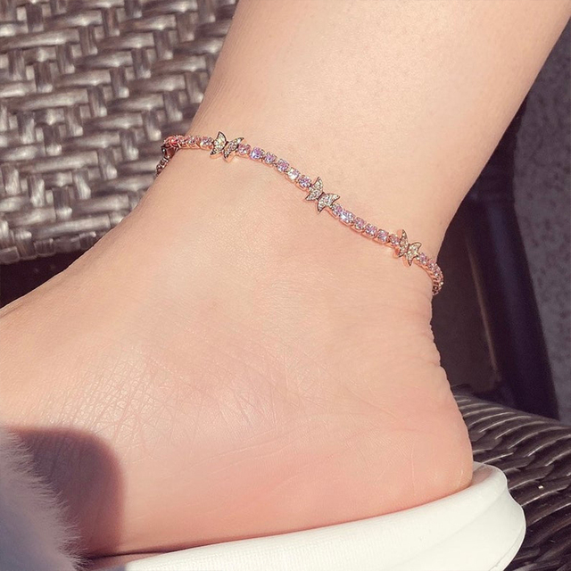 New Luxury Rhinestone Butterfly Anklet Bracelet Wholesale for Women Indian Barefoot Ankle Beach Accessories Tennis Anklet Chain 3