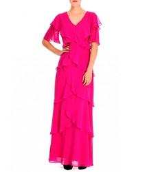 Dress The Muse®Long layered pleated straight elegant Dresses for Woman pink Colour for partying be night Fashion 2020