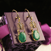Women Earlobe Dangle & Drop Handmade Silver Gold Plated Scorpion Shaped Green Jade Special Design Gift Earrings, Fashion earring