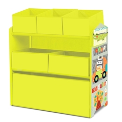 Shelves KIDS funiture Wood Green Children room 6 fabric boxes toys