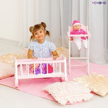Furniture Toys PAREMO  A set of doll furniture (Chair + cradle), Pink for children toys for kids game furniture dolls doll houses furniture for bed for accessories doll for marie a
