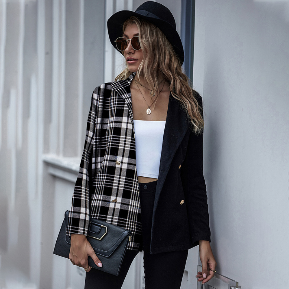 Fashion Blazers Coat Women Autumn Winter New Casual Long Sleeve Vintage Suit Coat Check Pattern Office Blazers Outerwear Women