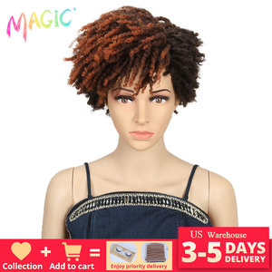 Magic 10 Inches Afro Kinky Curly Wig Synthetic Short Dreadlock Wig With Bangs Black Ombre Brown Blonde Blue Wig for Black Women