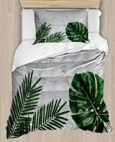Else Jungle Tropical Leaves Gray Floor 4 Piece 3D Print Cotton Satin Single Duvet Cover Bedding Set Pillow Case Bed Sheet|Duvet Cover|   -