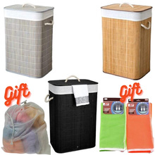 Folding Dirty Clothes Storage Basket Bamboo Laundry Washing Bag Foldable Organizer Large Hamper One Three Grids Bathroom Women