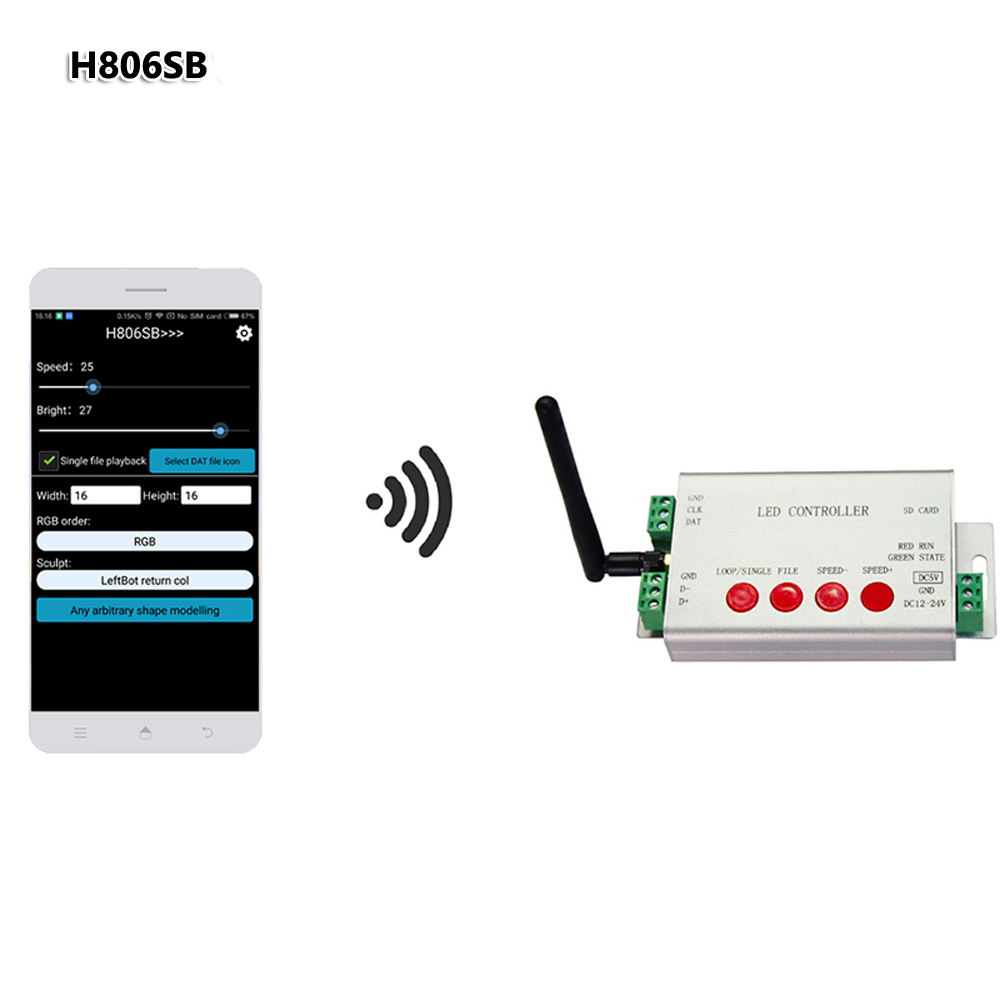H806SB <font><b>LED</b></font> SD Card <font><b>Controller</b></font> WIFI SPI <font><b>Controller</b></font> DC5-24V Wifi <font><b>Controller</b></font> by APP Max 2048 Pixels <font><b>WS2811</b></font> Digital Strip Lights image