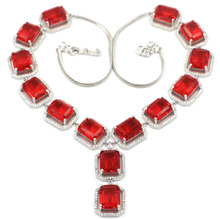 18x16mm Big Heavy 60g Red Blood Ruby CZ Woman's Engagement Silver Necklace 19-20inch