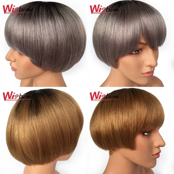Cheap Human Hair Wigs Malaysia Hair Short Bob Wigs Straight Honey Blonde Wigs With Bangs T1B/30 T1B/Grey Wigs For Women Wigbow