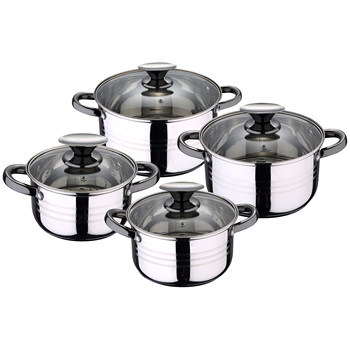 Cookware 8 Pieces in stainless steel SAINT ignacio collection QAAA