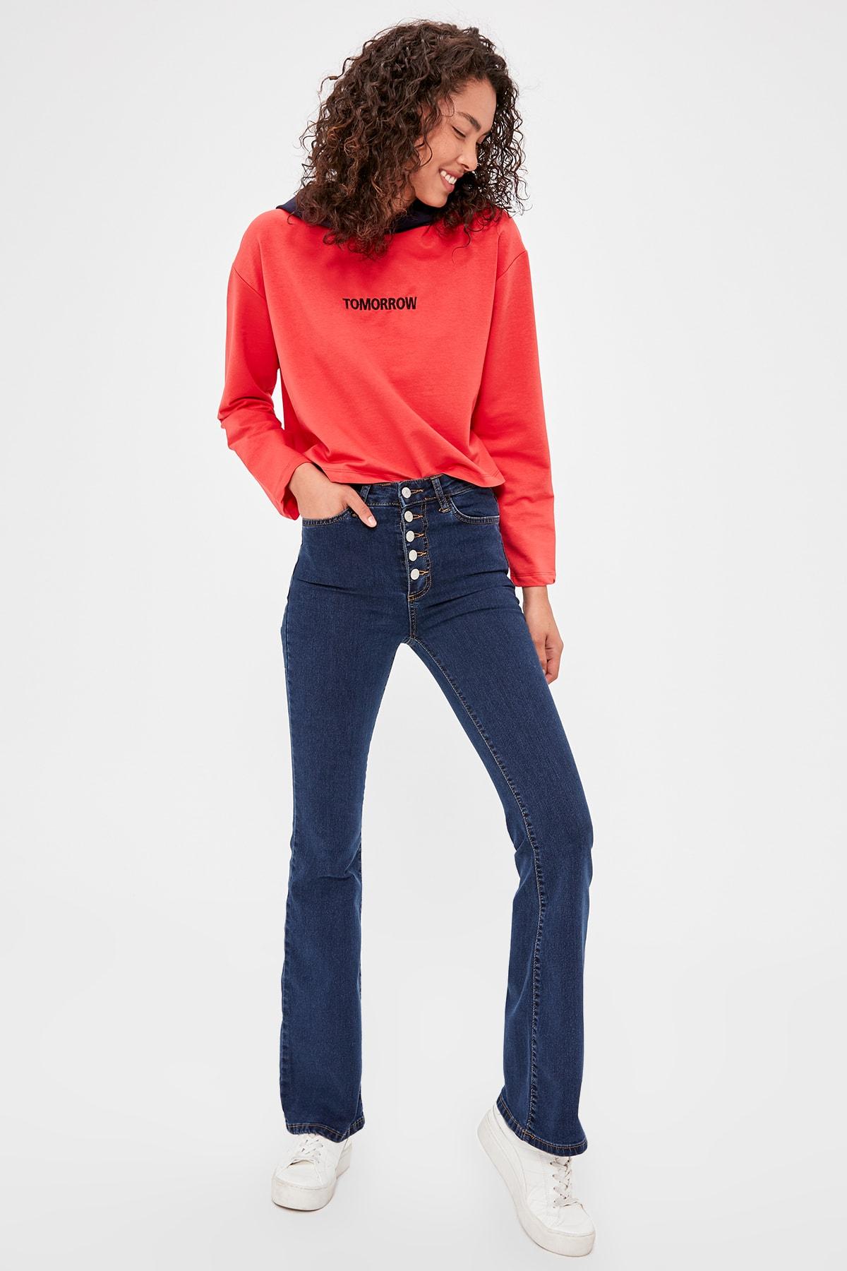 Trendyol Front Button High Waist Flare Jeans TWOAW20JE0168