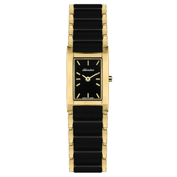 Women's watches on a steel bracelet with PVD coating and ceramic inserts with mineral glass sunlight