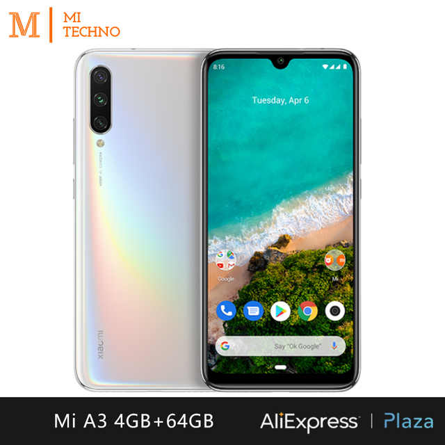 Xiaomi Mi A3 Smartphone (4GB RAM, 64GB ROM, phone mobile, free, new, cheap, battery 4030 mAh, Andriod one) [Global Version] 4