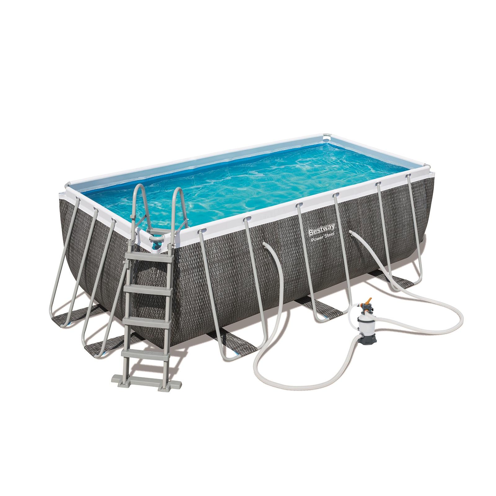 Bestway Removable Pool Tubular Power Steel Design Rattan 412 Cm X 201 Cm X 122 Cm-56722Sf-