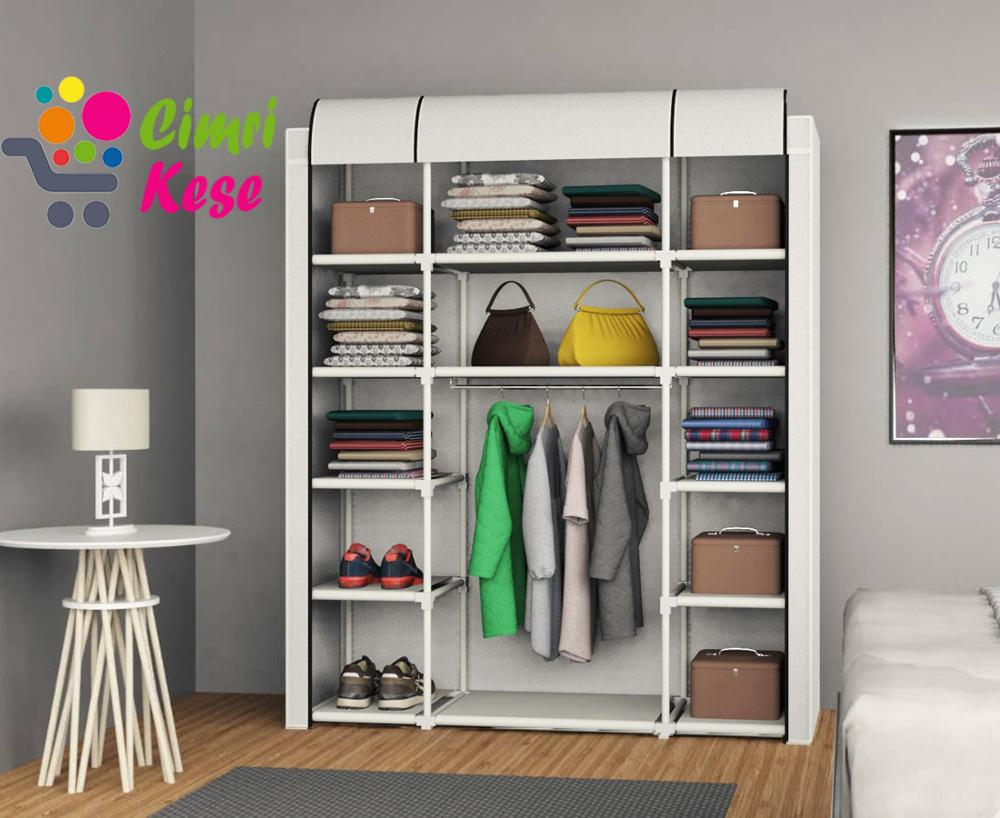Cabinet Wardrobe Home-Furniture Portable Folding Multipurpose Non-Woven-Fabric Dustproof title=